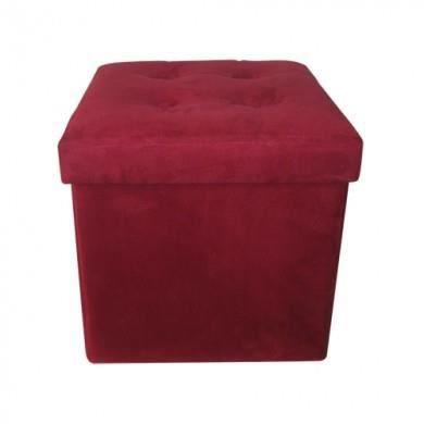 pouf rouge en su dine 4 boutons achat vente pouf. Black Bedroom Furniture Sets. Home Design Ideas