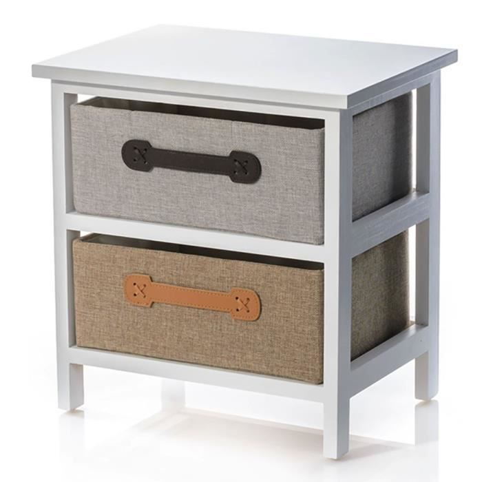 meubles auxiliaires avec deux tiroirs bois laqu blanc