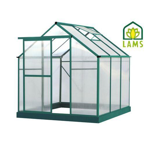 Serre de jardinage serre en alu verte et polycarbonate lilas jany - Serre alu polycarbonate ...