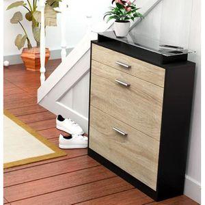 meuble a chaussures en bois avec tiroir et plateau en. Black Bedroom Furniture Sets. Home Design Ideas