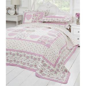 Couvre lit rose achat vente couvre lit rose pas cher - Couvre lit coton ...