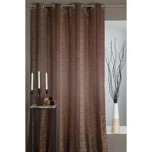rideau marron motif achat vente rideau marron motif pas cher cdiscount. Black Bedroom Furniture Sets. Home Design Ideas