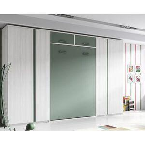 armoire lit verticale teo 140x190cm rangement achat vente lit escamotable cdiscount. Black Bedroom Furniture Sets. Home Design Ideas