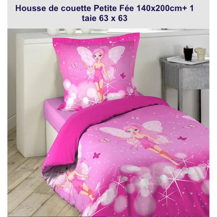 housse de couette enfant petite f e 100 coton 140 x 200cm une taie achat vente housse de. Black Bedroom Furniture Sets. Home Design Ideas