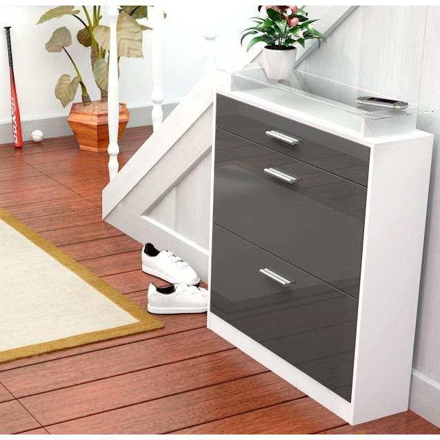 Range chaussures blanc et gris 16 paires 89 cm achat - Banc tiroir range chaussure ...