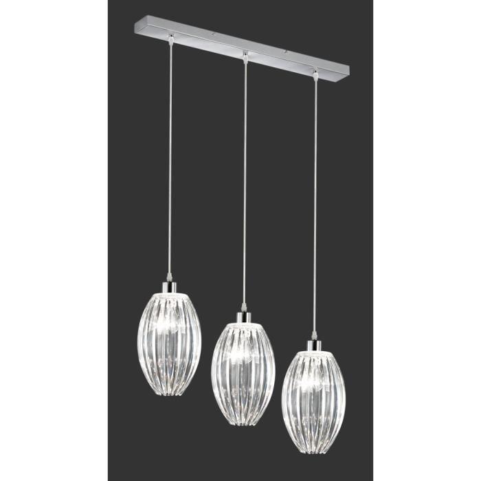suspension blanc 70 cm 3 ampoules en chrome et achat vente suspension blanc 70 cm 3 am. Black Bedroom Furniture Sets. Home Design Ideas