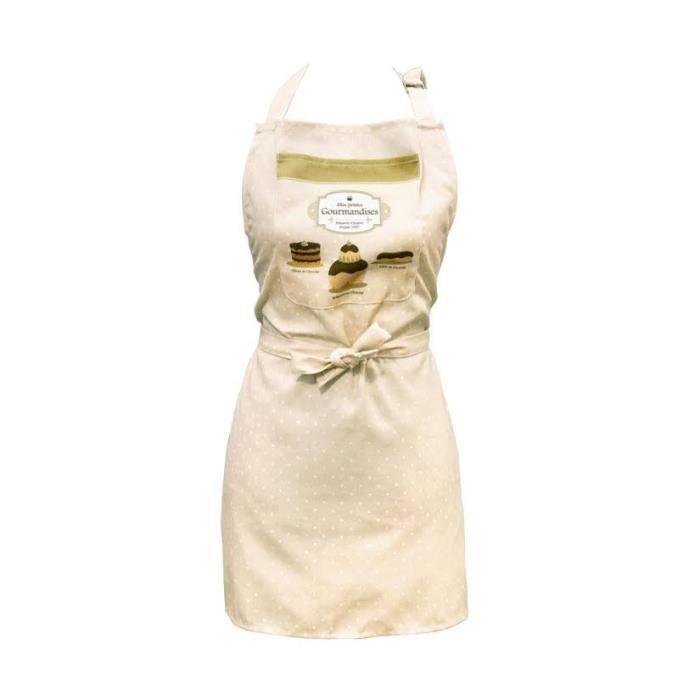 Tablier de cuisine gourmandises beige achat vente for Achat tablier cuisine