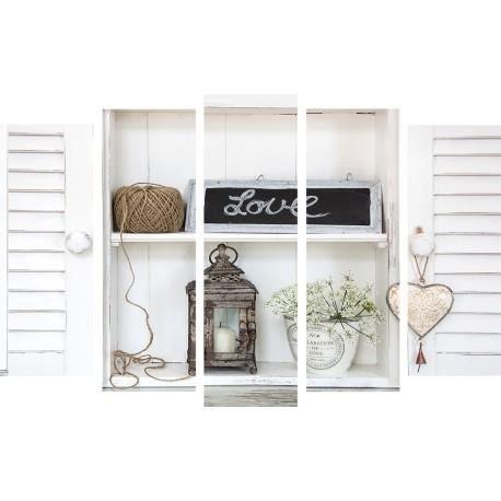 set de 5 toiles love volets 150cm x 100cm achat vente tableau toile soldes cdiscount. Black Bedroom Furniture Sets. Home Design Ideas