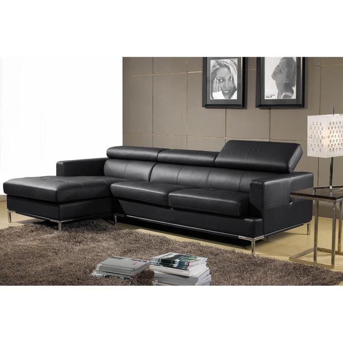 Canap cuir angle gauche noir asteria achat vente canap sofa divan - Canape angle gauche cuir ...
