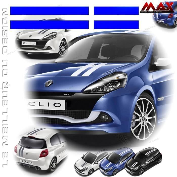 kit 2 bandes gordini bleu roi stickers renault sport autocollant adh sif capot toit coffre. Black Bedroom Furniture Sets. Home Design Ideas