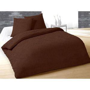 parure housse de couette marron achat vente parure housse de couette marron pas cher cdiscount. Black Bedroom Furniture Sets. Home Design Ideas