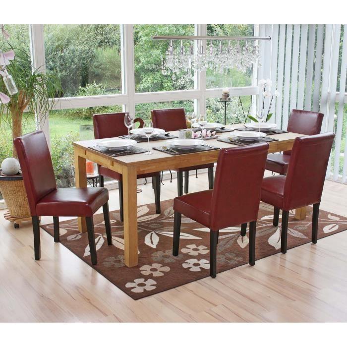 Lot de 6 chaises de salle manger simili cuir rouge brun for Chaises salle manger cuir dossier haut