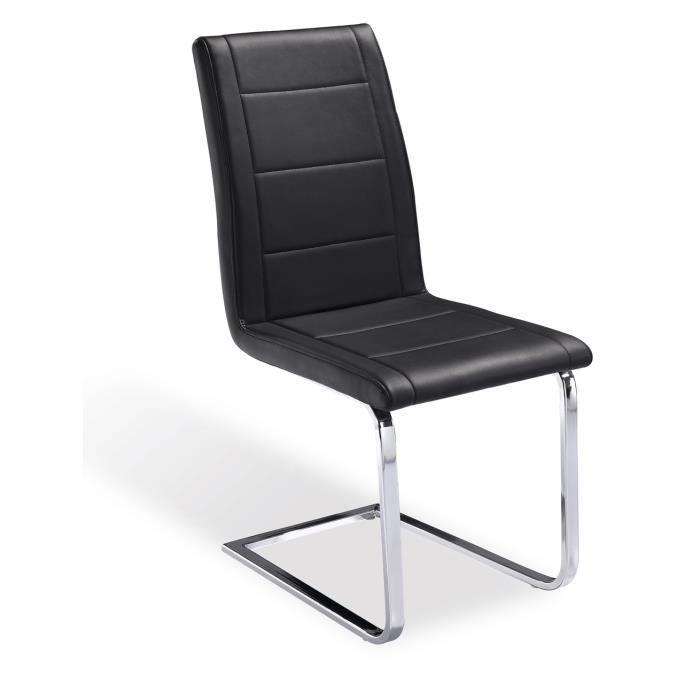 Chaise de bureau en acier chrom noir dimensi achat vente chaise de bureau noir cdiscount for Chaise en acier poitiers