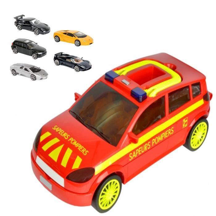 majorette carry car sapeurs pompier 5 voitures achat vente voiture camion cdiscount. Black Bedroom Furniture Sets. Home Design Ideas