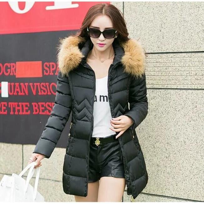 chaud manteau femme hiver noir noir achat vente manteau caban cdiscount. Black Bedroom Furniture Sets. Home Design Ideas