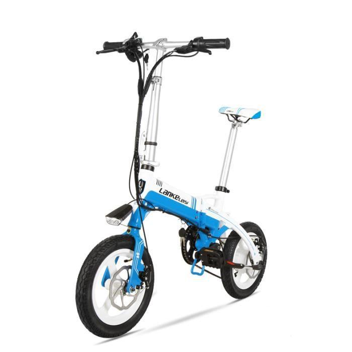 mini bicyclette lectrique pliante 240w 36v 8 7a 14 pouces batterie cach e jante d. Black Bedroom Furniture Sets. Home Design Ideas