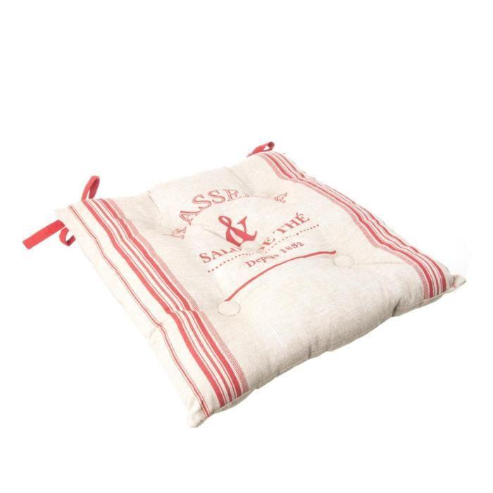 Paris prix galette de chaise bistrot 40x40cm rouge - Galette de chaise lavable ...
