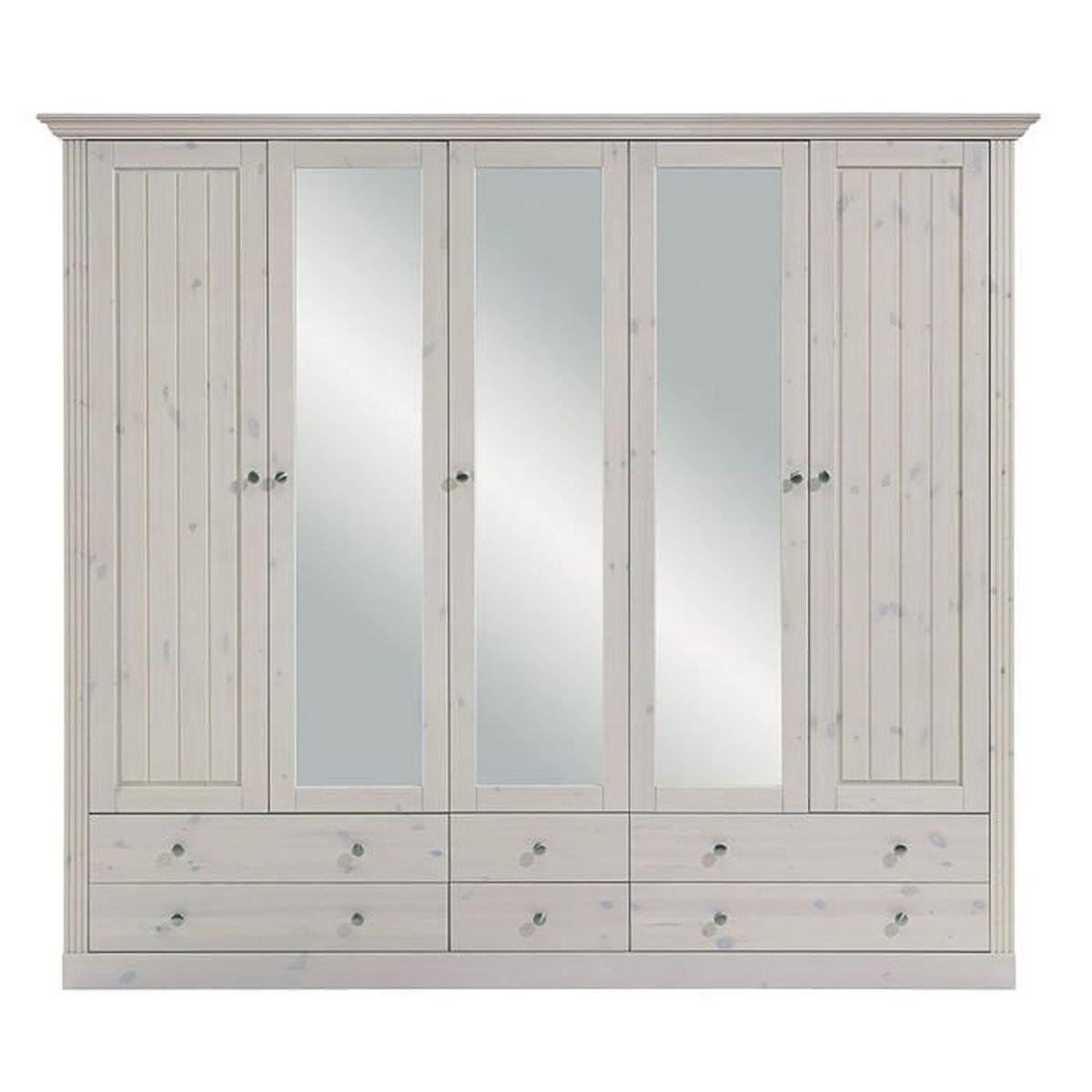 Armoire en pin massif coloris blanc dim 201 x 227 x 60 cm achat vente - Armoire pin massif blanc ...