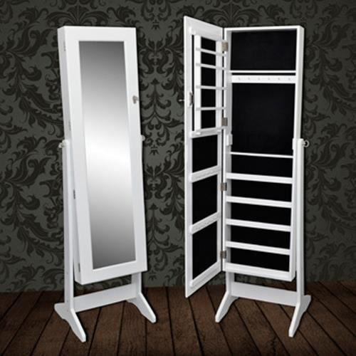 Armoire bijoux blanche sur pied avec miroir r glable - Meuble rangement bijoux miroir ...