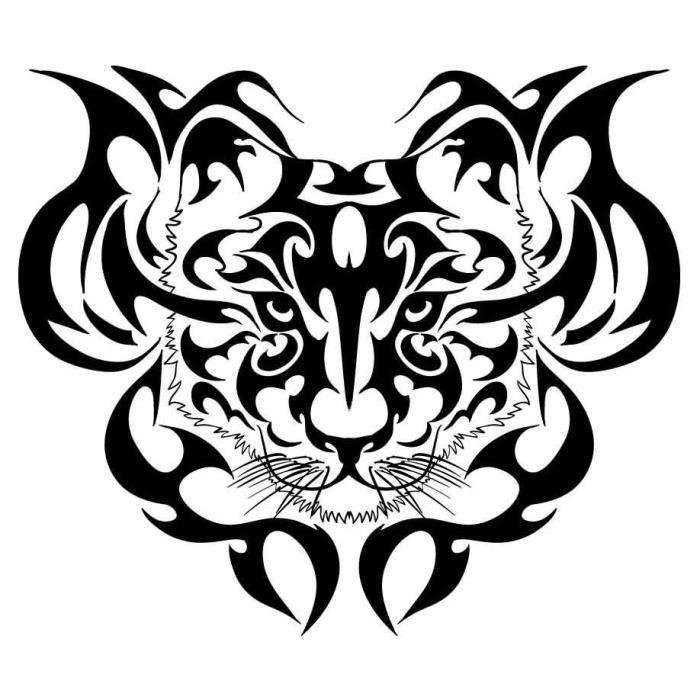 Tigres tribal tatouage tete conception tiger achat vente stickers cdiscount - Tete de tigre dessin facile ...