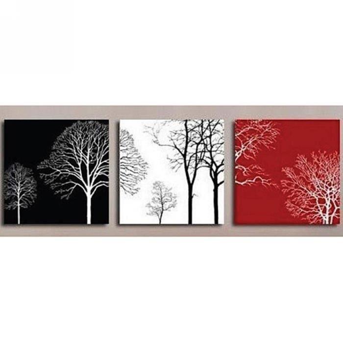 3pcs set tableau peinture huile toile art noir blanc rouge arbres fait main sans ch ssis sans. Black Bedroom Furniture Sets. Home Design Ideas