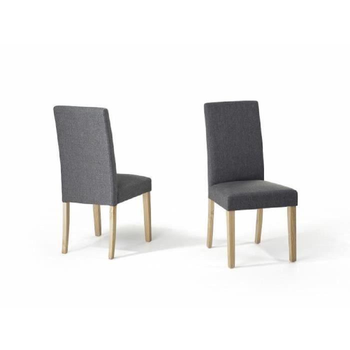 Chaise de salle manger chaise en tissu gris for Chaises noires salle a manger