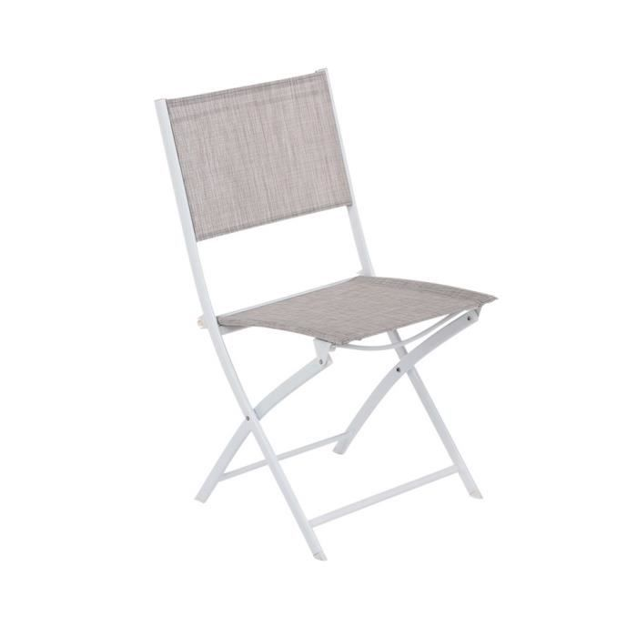 Chaise pliante modula hesp ride taupe chin blanc for Lot 4 chaises taupe