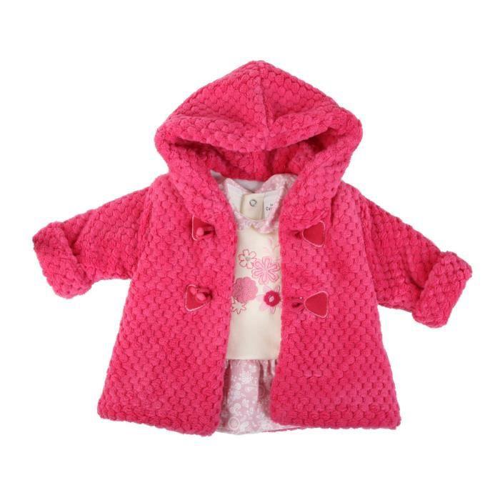 ensemble 2 pi ces robe et manteau b b fille rose rose rose achat vente ensemble de. Black Bedroom Furniture Sets. Home Design Ideas