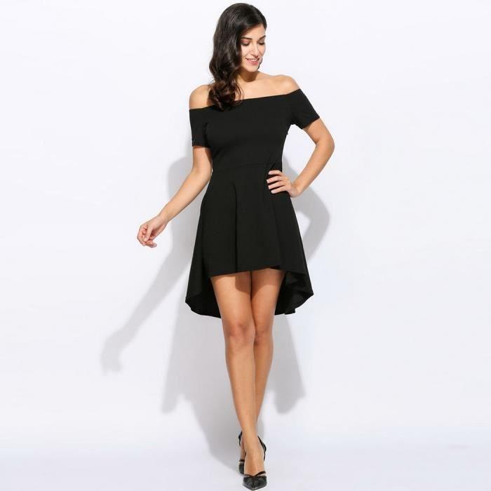 mini robe femme paule nu manches courtes solide style europ en machaon noir achat vente. Black Bedroom Furniture Sets. Home Design Ideas