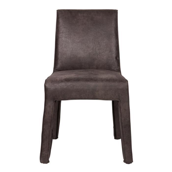 chaise en cuir coloris noir d 92x56x65 cm achat. Black Bedroom Furniture Sets. Home Design Ideas