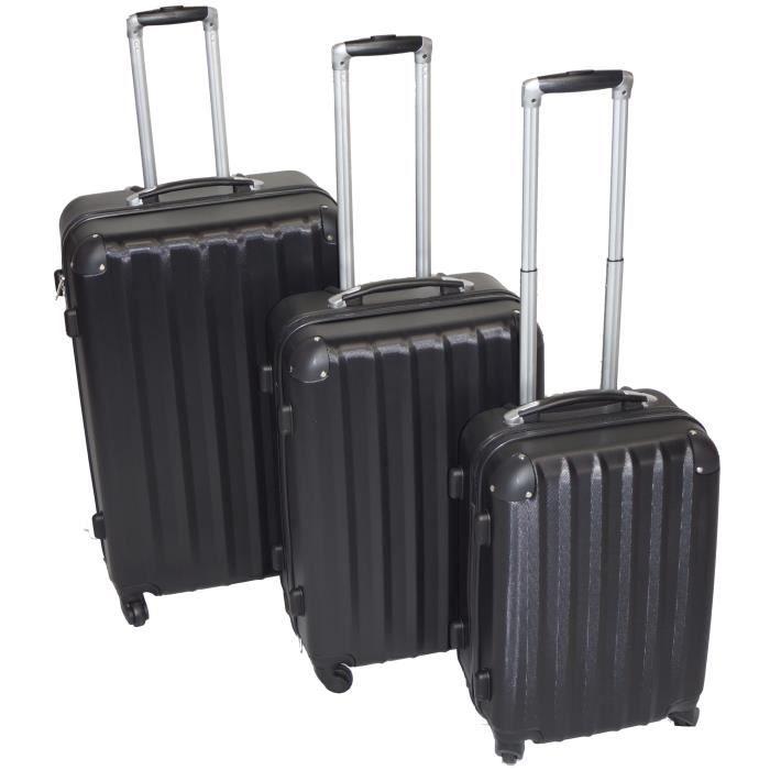 set de 3 valises de voyage trolley noir noir achat. Black Bedroom Furniture Sets. Home Design Ideas