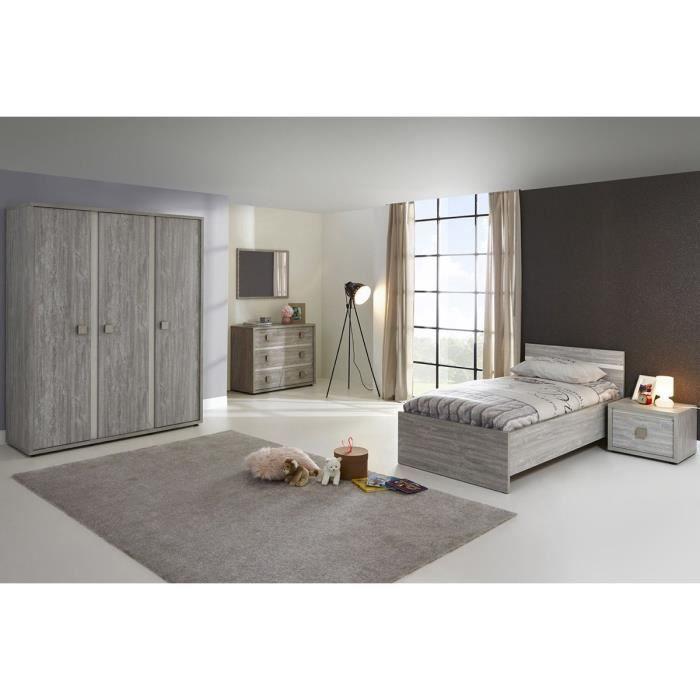 Ensemble chambre coucher contemporaine avec armoire 3 portes coloris valoni - Chambre a coucher cdiscount ...
