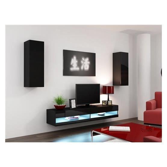 Ensemble meuble tv design valor noir achat vente meuble tv meuble tv valor nr cdiscount for Ensemble meuble tv design