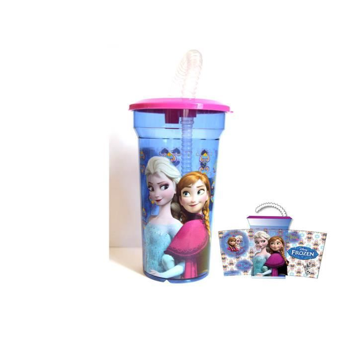 verre avec couvercle et paille la reine des neiges disney officiel achat vente verre eau. Black Bedroom Furniture Sets. Home Design Ideas