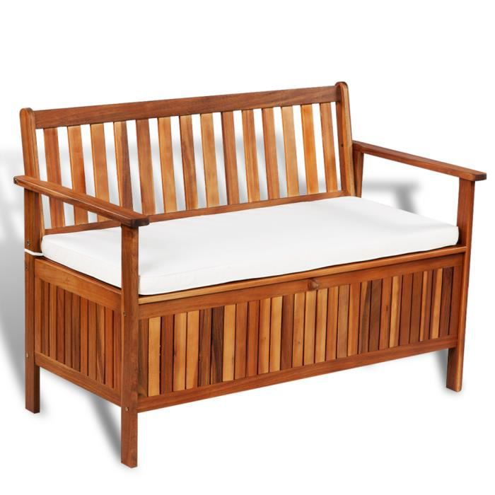 Banc de jardin avec coussin rembourr pour stockage en bois d 39 acacia 120 x 63 x 84 cm achat - Coussin pour banc en bois ...
