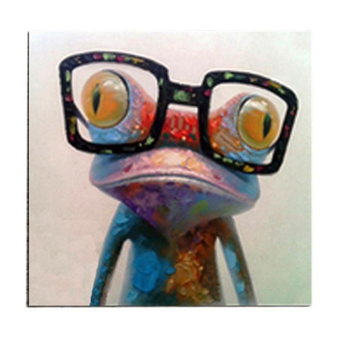 maison decoration accessoires tableau grenouille humour deco peinture huile toil f  mp