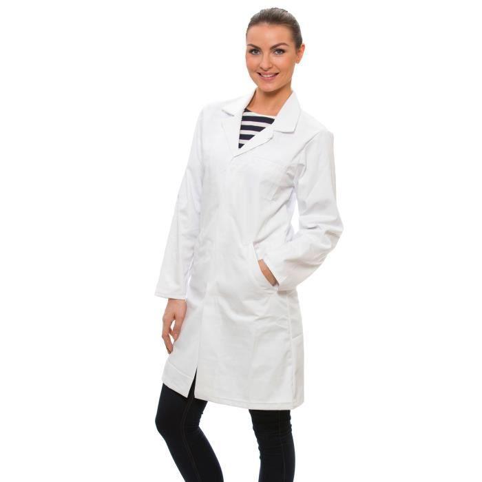 dr james femme blouse blanche de laboratoire blanc achat vente tunique blouse cdiscount. Black Bedroom Furniture Sets. Home Design Ideas