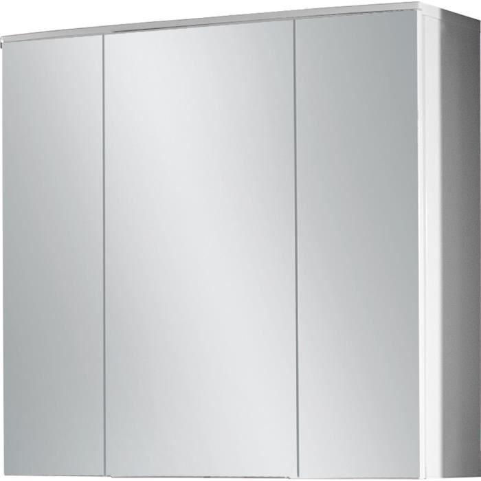 armoire miroir 3d avec trois portes coloris blanc l70 x. Black Bedroom Furniture Sets. Home Design Ideas