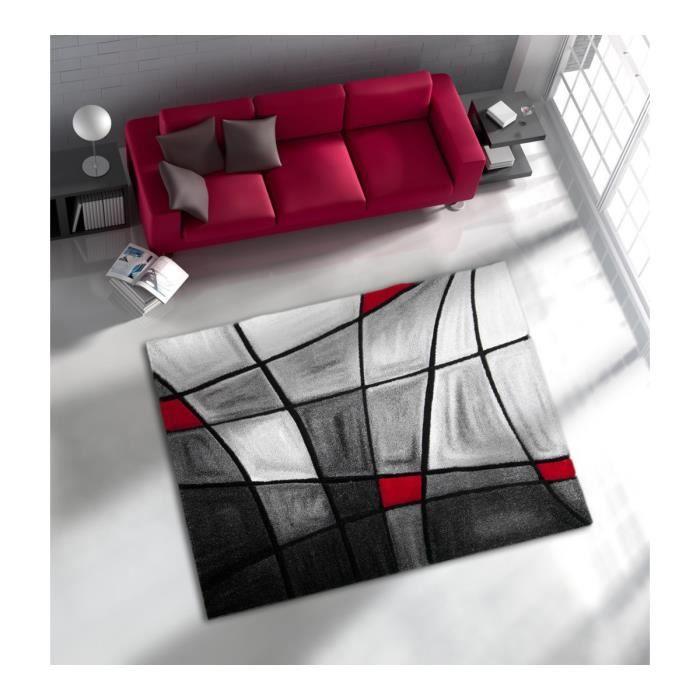 allotapis tapis de salon avec effet 3d gris et rouge chic 80x150cm rouge achat vente. Black Bedroom Furniture Sets. Home Design Ideas