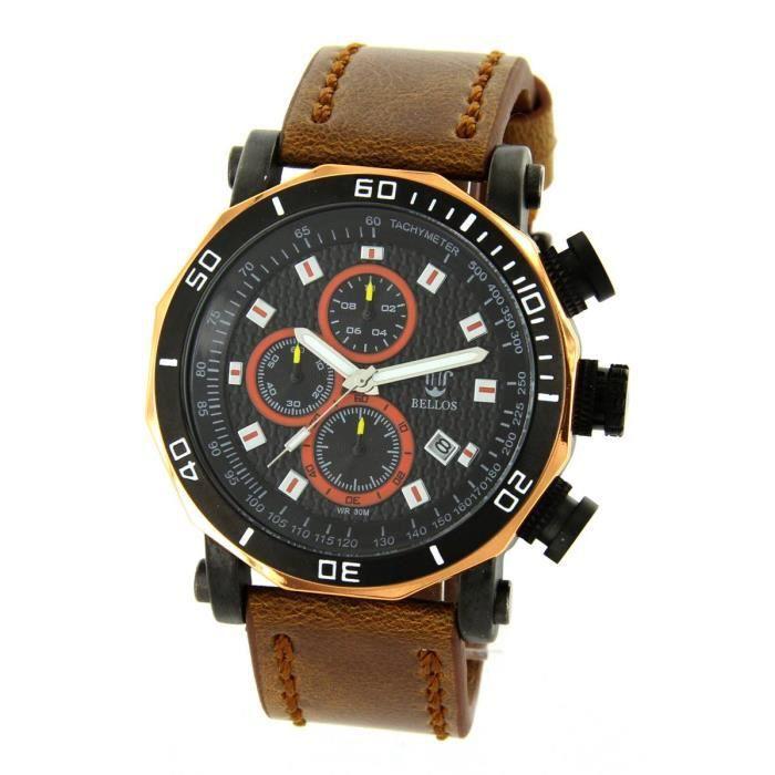 montre homme avec chrono cuir marron michael john 2071 achat vente montre montre homme avec. Black Bedroom Furniture Sets. Home Design Ideas