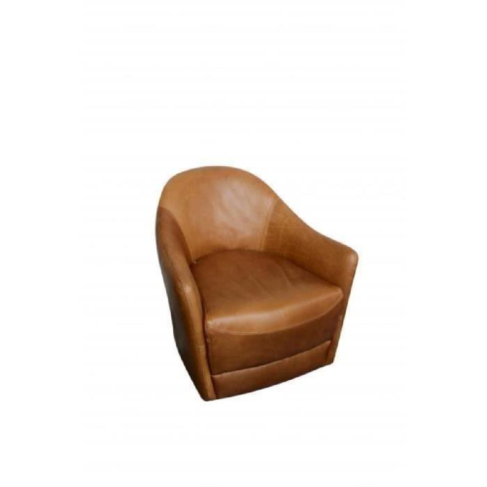 fauteuil vintage 1 place en cuir 76 cm brun achat vente fauteuil cdiscount. Black Bedroom Furniture Sets. Home Design Ideas