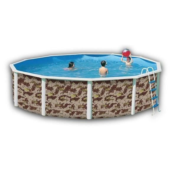 piscine acier camouflage ronde 350x120 cm achat vente kit piscine piscine camouflage 350x120. Black Bedroom Furniture Sets. Home Design Ideas