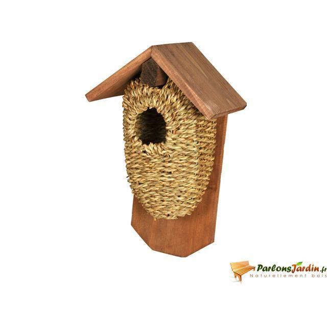 Nichoir pour oiseaux en bois et jonc de mer milvus achat - Nichoir oiseau bois ...