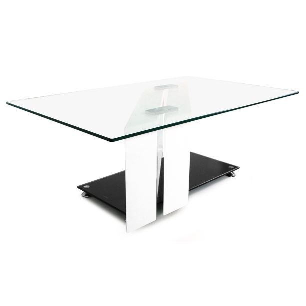 Table Basse En Verre Prisca Noir Blanc Achat Vente