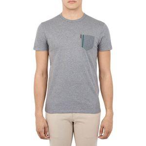 T-SHIRT T-shirt BEN SHERMAN Gingham Tipped Pocket  Gris