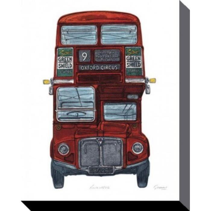 londres poster reproduction sur toile tendue sur ch ssis bus imp rial barry goodman 50 x 40. Black Bedroom Furniture Sets. Home Design Ideas
