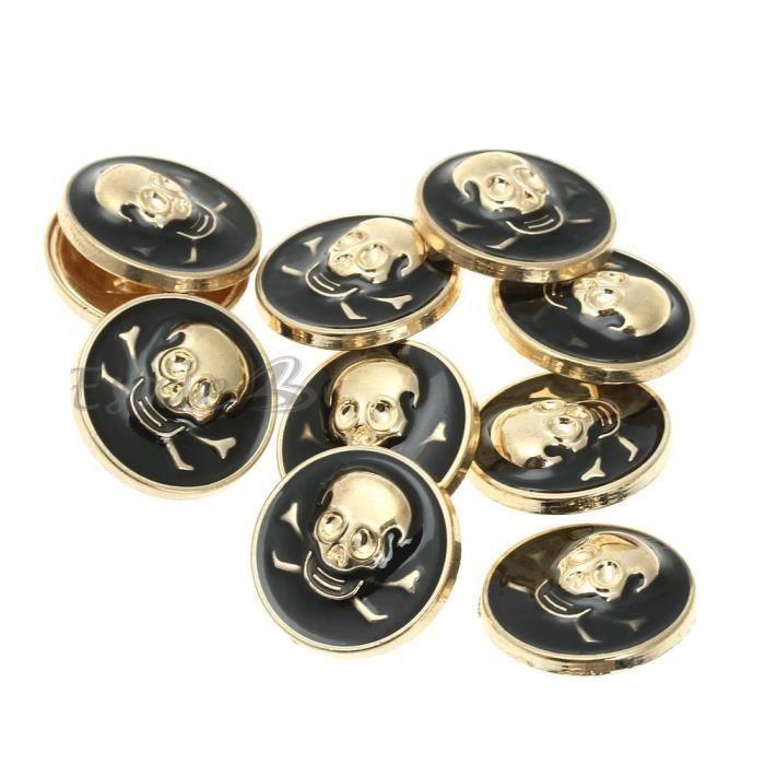 10pcs bouton rond t te de mort m tal 23mm pour achat vente bouton de manchette. Black Bedroom Furniture Sets. Home Design Ideas