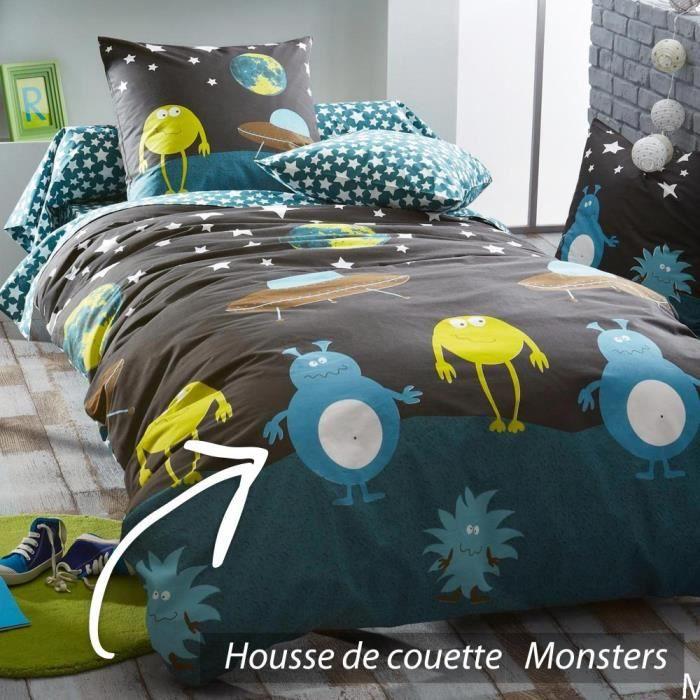 housse de couette 140x200 cm 100 coton monsters achat vente housse de couette cdiscount. Black Bedroom Furniture Sets. Home Design Ideas