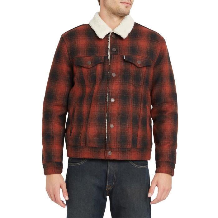 levi 39 s blouson trucker sherpa laine carreaux rouge et pour homme noir noir achat vente. Black Bedroom Furniture Sets. Home Design Ideas