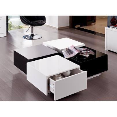 Table basse carmen 4 tiroirs mdf laqu blanc e achat for Table basse noir et blanc pas cher